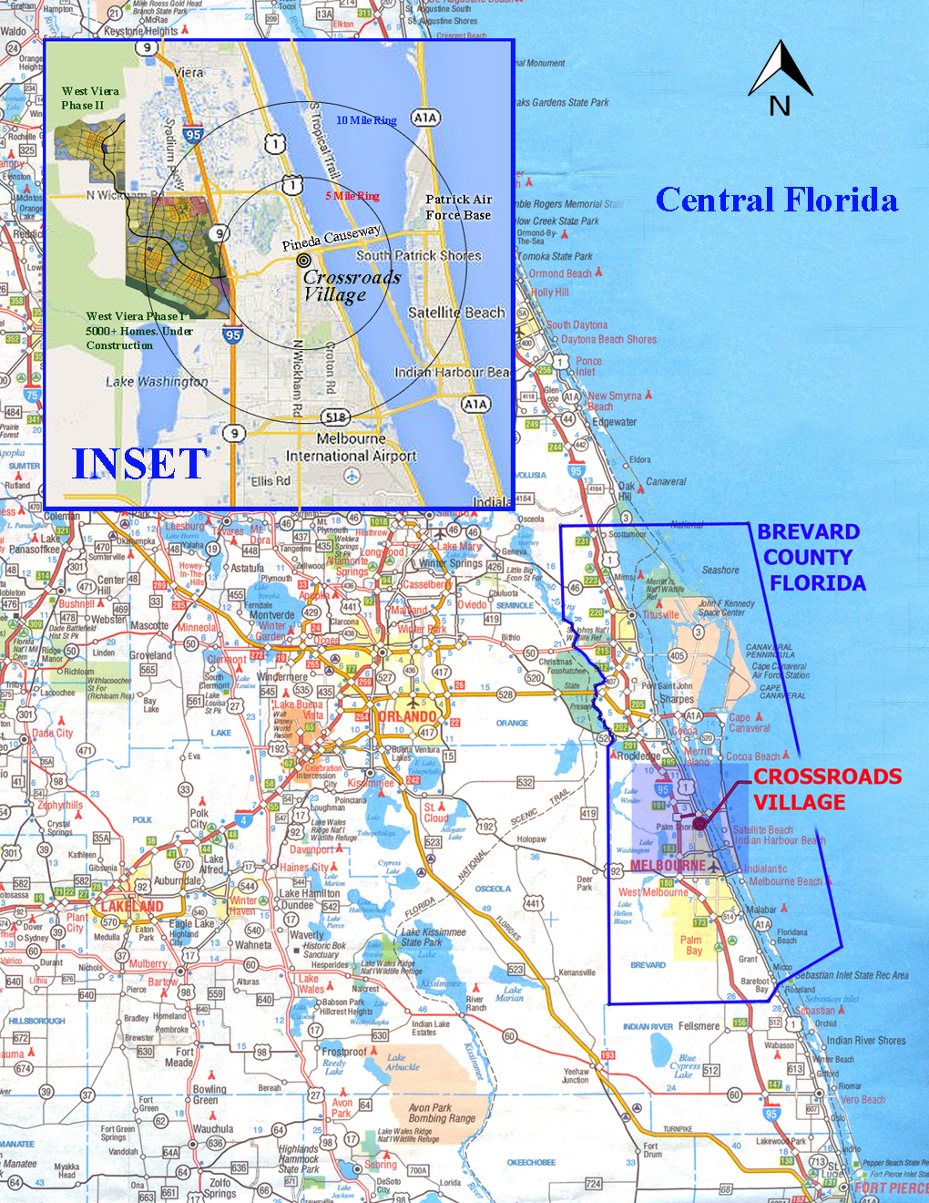 Frost Proof Florida Map.Central Florida Map With Inset